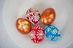 Homemade traditional decorated Eastern or Paschal eggs Royalty Free Stock Image