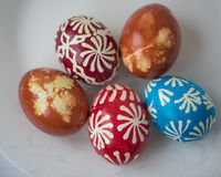 Homemade traditional decorated Eastern or Paschal eggs Stock Photos