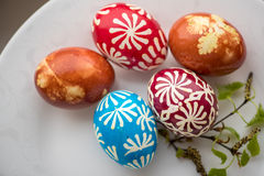 Homemade traditional decorated Eastern or Paschal eggs Stock Photo