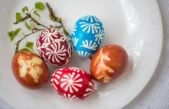 Homemade traditional decorated Eastern or Paschal eggs Stock Images