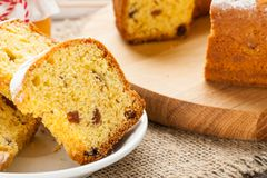 Homemade traditional fruit cake slices at white plate Royalty Free Stock Photography