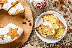 Homemade traditional fruit cake slices on white plate decorated Royalty Free Stock Images