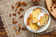 Homemade traditional fruit cake slices on white plate decorated Royalty Free Stock Photography