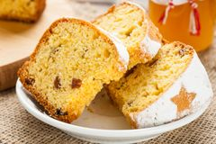 Homemade traditional fruit cake slices at white plate decorated Stock Images