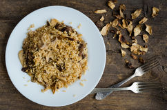 Homemade traditional Italian mushroom risotto. On wooden table. Classic Risotto with mushrooms and vegetables served on a white plate. Wild mushrooms risotto Stock Images