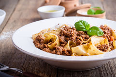 Homemade  traditional Italian pasta pappardelle bolognese Royalty Free Stock Photos