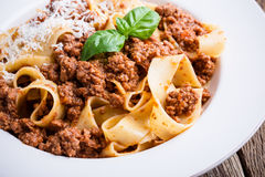 Homemade  traditional Italian pasta pappardelle bolognese Stock Image