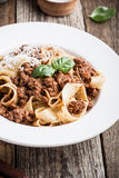 Homemade  traditional Italian pasta pappardelle bolognese Royalty Free Stock Photography