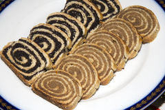Homemade traditional poppy seed and walnut rolls for christmas Stock Photo