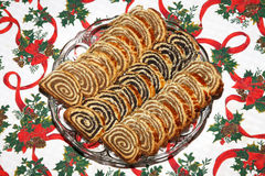 Homemade traditional poppy seed and walnut rolls for christmas h Royalty Free Stock Photography