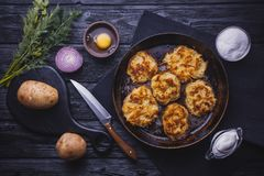 Homemade Traditional potato fritters on a Background Stock Photos