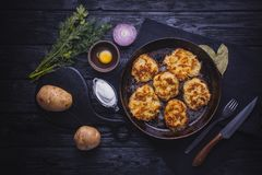 Homemade Traditional potato fritters on a Background Royalty Free Stock Photos