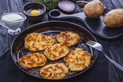 Homemade Traditional potato fritters on a Background Stock Images