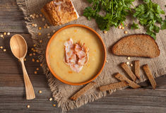 Homemade traditional split pea soup recipe food Royalty Free Stock Images