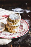 Homemade traditional welsh cakes with raisin and powdered sugar stock photography