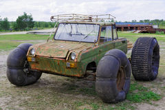 Homemade transport. To get around the swamps stock photography