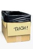 Homemade trashcan made of a cardboard Stock Photo