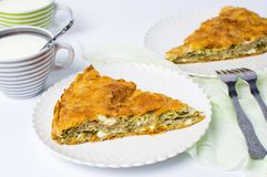 Homemade pie with cheese and spinach Royalty Free Stock Photo