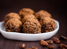 Homemade truffles. Chocolate truffles with cacao powder Royalty Free Stock Photo