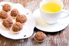 Homemade truffles. Dusted in cocoa powder Royalty Free Stock Photos