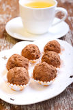 Homemade truffles. Dusted in cocoa powder Stock Photography