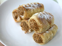 Homemade tube of pastry filled with sweet cream Royalty Free Stock Photo