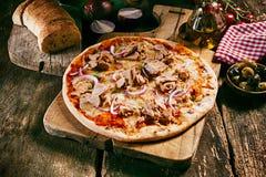 Homemade tuna Italian pasta with bread Royalty Free Stock Image