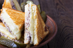 Homemade tuna melt sandwich. On rural table Stock Images