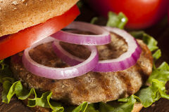 Homemade Turkey Burger on a Bun Stock Photos