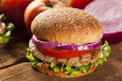 Homemade Turkey Burger on a Bun Royalty Free Stock Photography