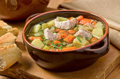 Homemade Turkey Soup. A bowl of hearty homemade turkey soup with vegetables and noodles Royalty Free Stock Photo