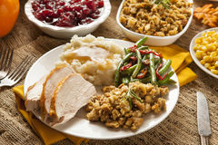 Homemade Turkey Thanksgiving Dinner. With Mashed Potatoes, Stuffing, and Corn