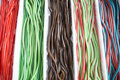 Homemade twisted colorful twisted licorice candies as a background Royalty Free Stock Photography