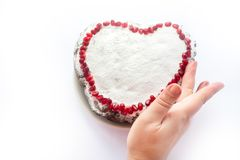 Homemade Two mini valentine cake with heart stencil work in the middle, Heart Cake stock images