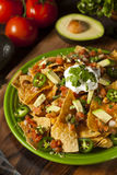 Homemade Unhealthy Nachos with Cheese and Vegetables Royalty Free Stock Images