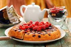 Homemade upside down berry cake served with fresh currants and r Royalty Free Stock Photos