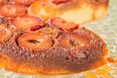 Homemade upside-down plum cake, close up Royalty Free Stock Photography