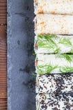 Homemade uramaki sushi rolls Stock Image