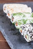 Homemade uramaki sushi rolls Stock Photos