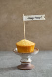 Homemade vanilla birthday cupcake Stock Image