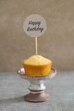 Homemade vanilla birthday cupcake Stock Photos