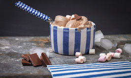 Homemade vanilla and chocolate ice cream with marshmallow, serve Stock Photography