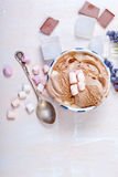 Homemade vanilla and chocolate ice cream with marshmallow, serve Royalty Free Stock Image