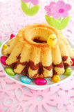 Marble ring cake for easter Stock Images