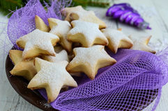 Homemade vanilla cookies in star-shaped decoration with powdered sugar Stock Images