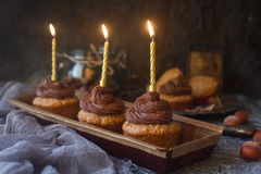 Homemade vanilla cupcakes with chocolate frosting and candles for new year or birthday party Royalty Free Stock Photo