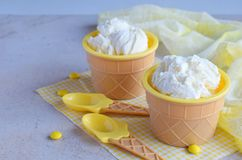 Homemade vanilla ice cream on marble background. White frozen delicious dessert in individual jello vase. Homemade vanilla ice cream on marble background. White stock photography