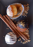 Homemade Vanilla Muffins With Chocolate And Grated Coconut. Stock Image