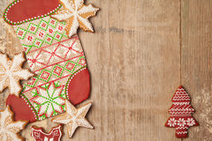Homemade various christmas gingerbread cookies on wooden backgro royalty free stock photography
