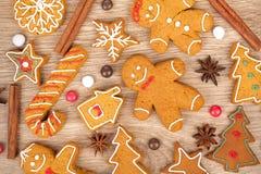 Homemade various christmas gingerbread cookies Royalty Free Stock Photos